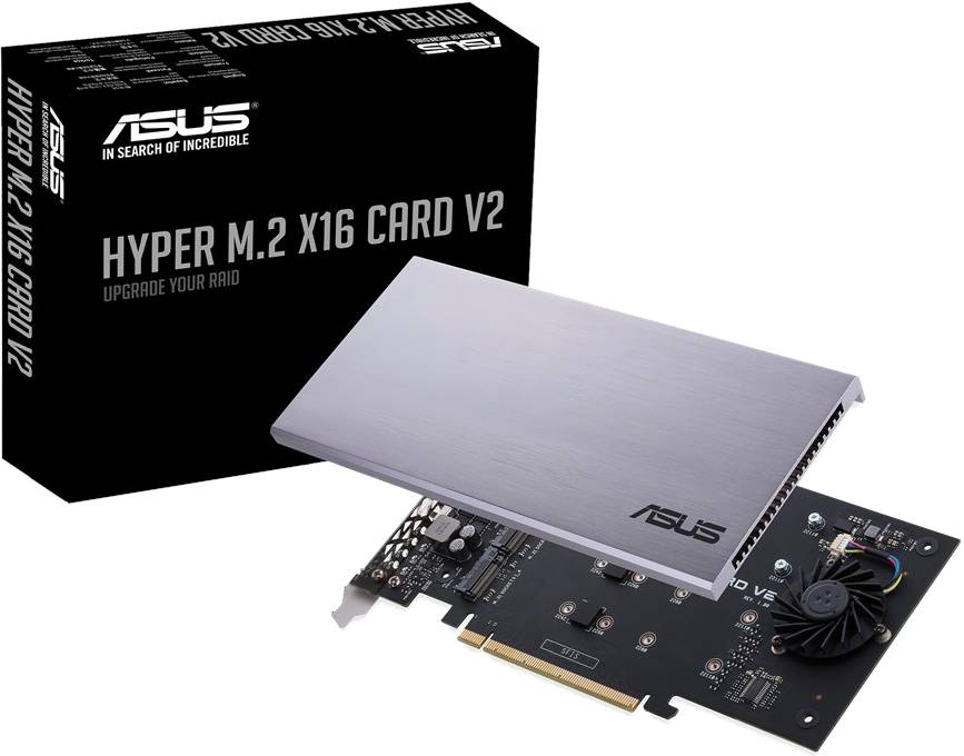 Asus HYPER M.2 X16 CARD V2 - Pcie 3.0 X4 Expansion Card V2 Supports 4 Nvme M.2 Up To 128 Gbps - click for details.